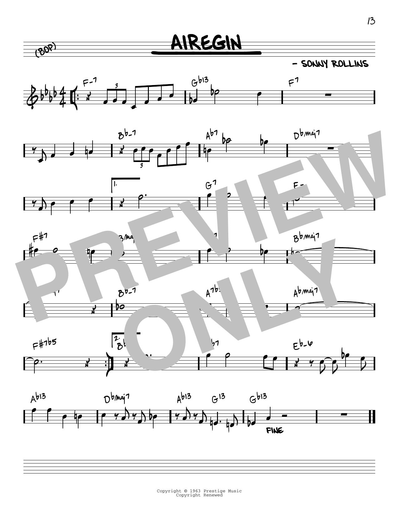 John Coltrane Airegin [Reharmonized version] (arr. Jack Grassel) sheet music notes printable PDF score