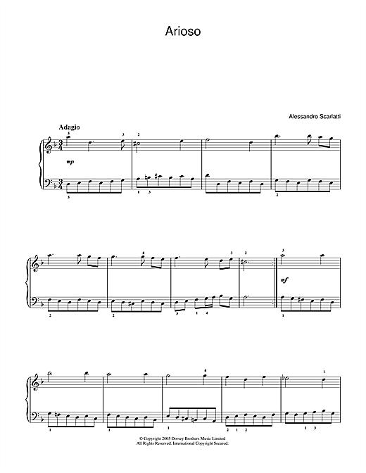 Alessandro Scarlatti Arioso sheet music notes printable PDF score
