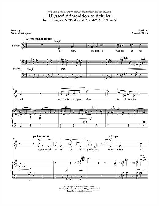 Alexander Goehr Ulysses' Admonition to Achilles (for baritone & piano) sheet music notes printable PDF score