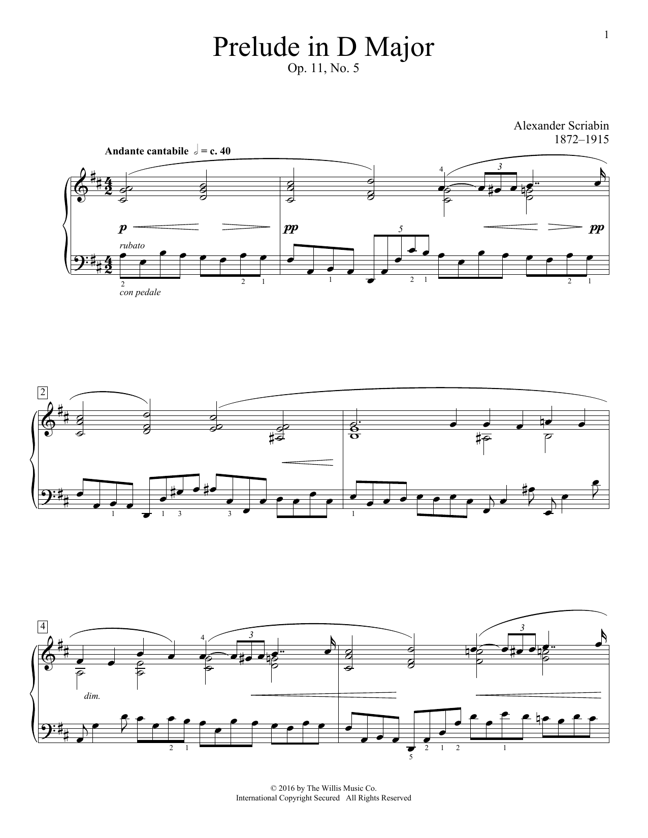 Alexander Scriabin Prelude In D Major, Op. 11, No. 5 sheet music notes and chords. Download Printable PDF.