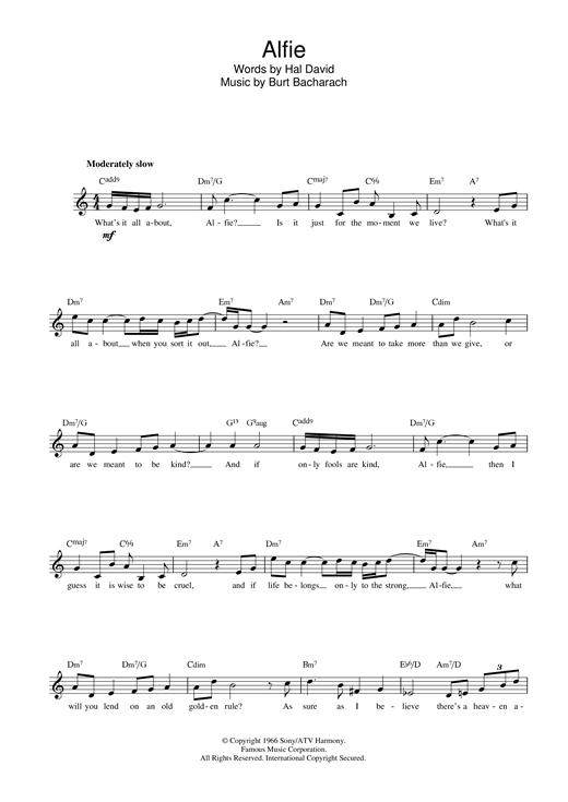 Cilla Black Alfie sheet music notes printable PDF score