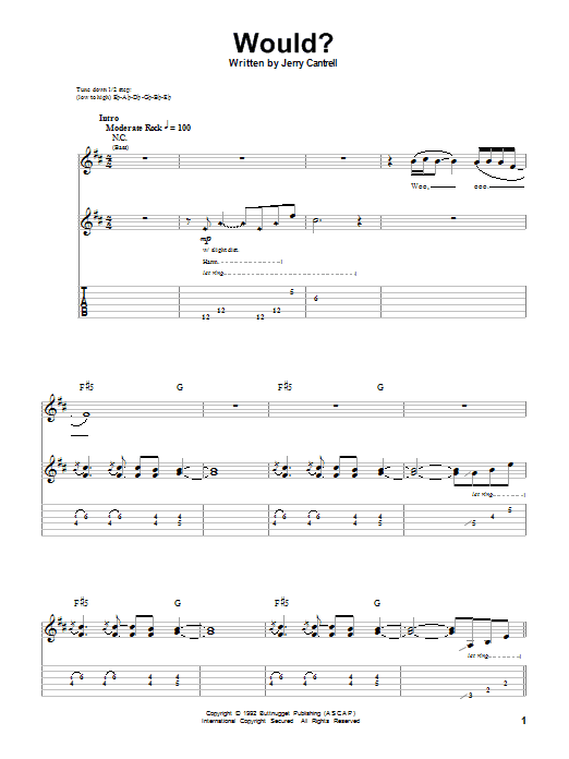 Alice In Chains Would? sheet music notes and chords. Download Printable PDF.
