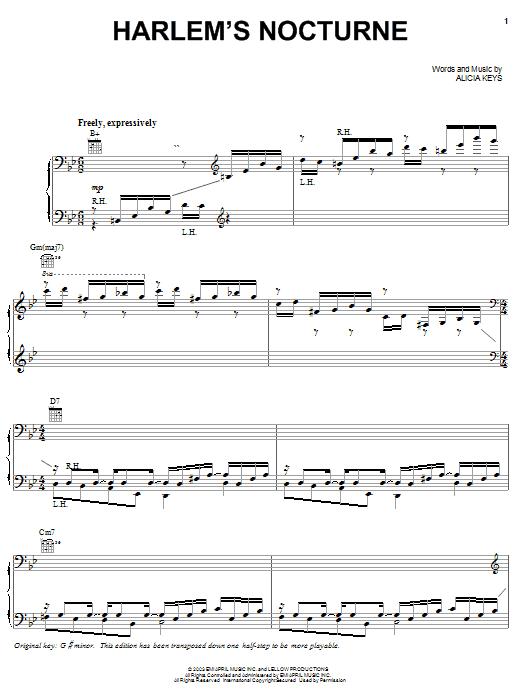 Alicia Keys Harlem's Nocturne sheet music notes and chords. Download Printable PDF.
