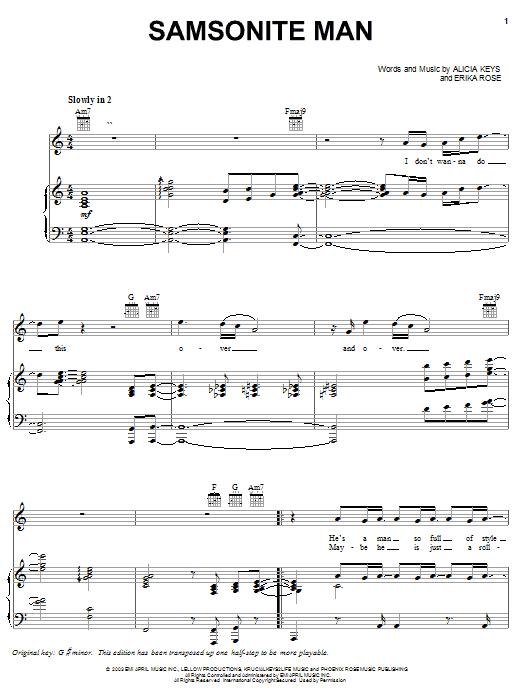 Alicia Keys Samsonite Man sheet music notes and chords. Download Printable PDF.