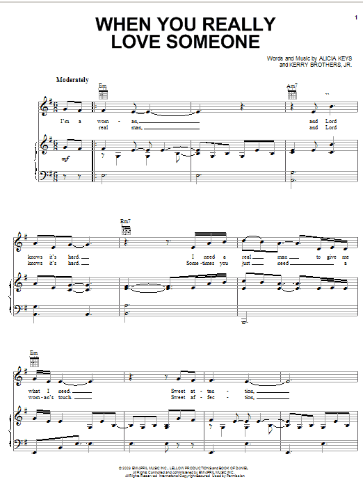 Alicia Keys When You Really Love Someone sheet music notes and chords. Download Printable PDF.