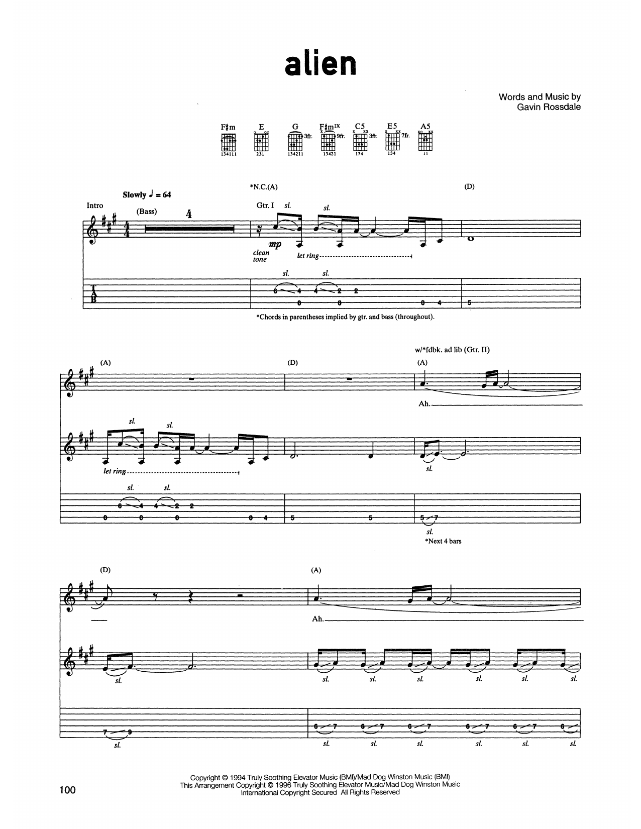 Bush Alien sheet music notes printable PDF score