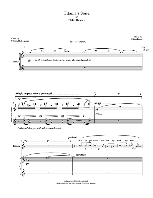 Alison Bauld Titania's Song (for soprano & piano) sheet music notes printable PDF score