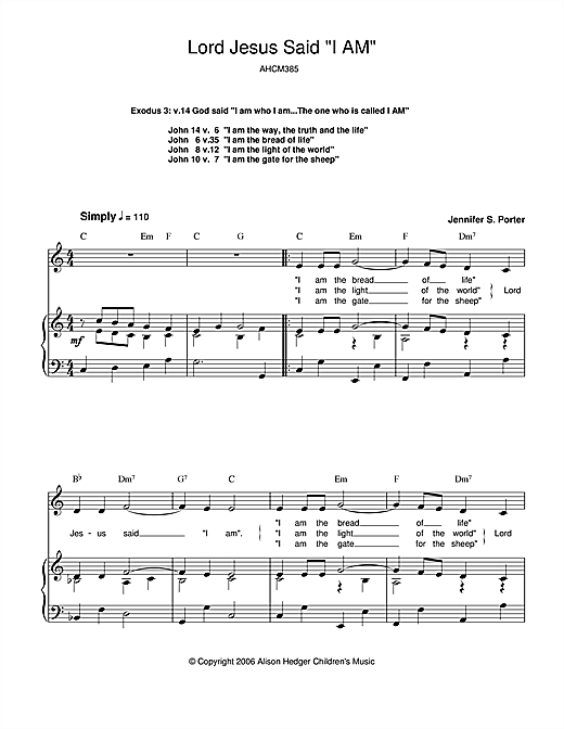 Alison Hedger Lord Jesus Said 'I Am' sheet music notes printable PDF score