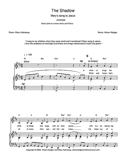 Alison Hedger The Shadow sheet music notes printable PDF score