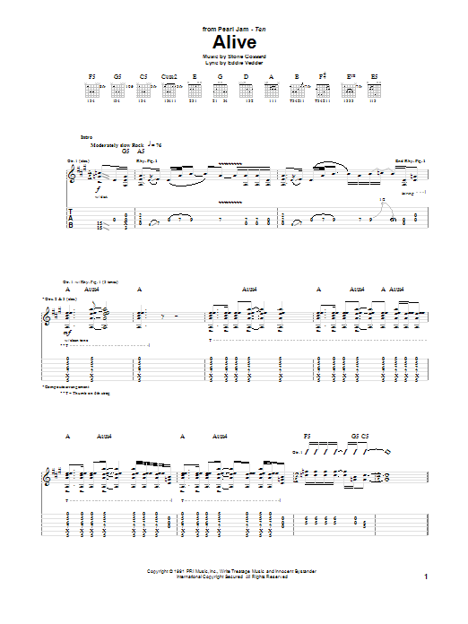Pearl Jam Alive sheet music notes printable PDF score