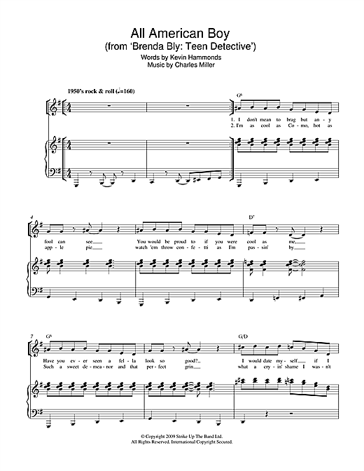 Charles Miller & Kevin Hammonds All American Boy (from Brenda Bly: Teen Detective) sheet music notes printable PDF score