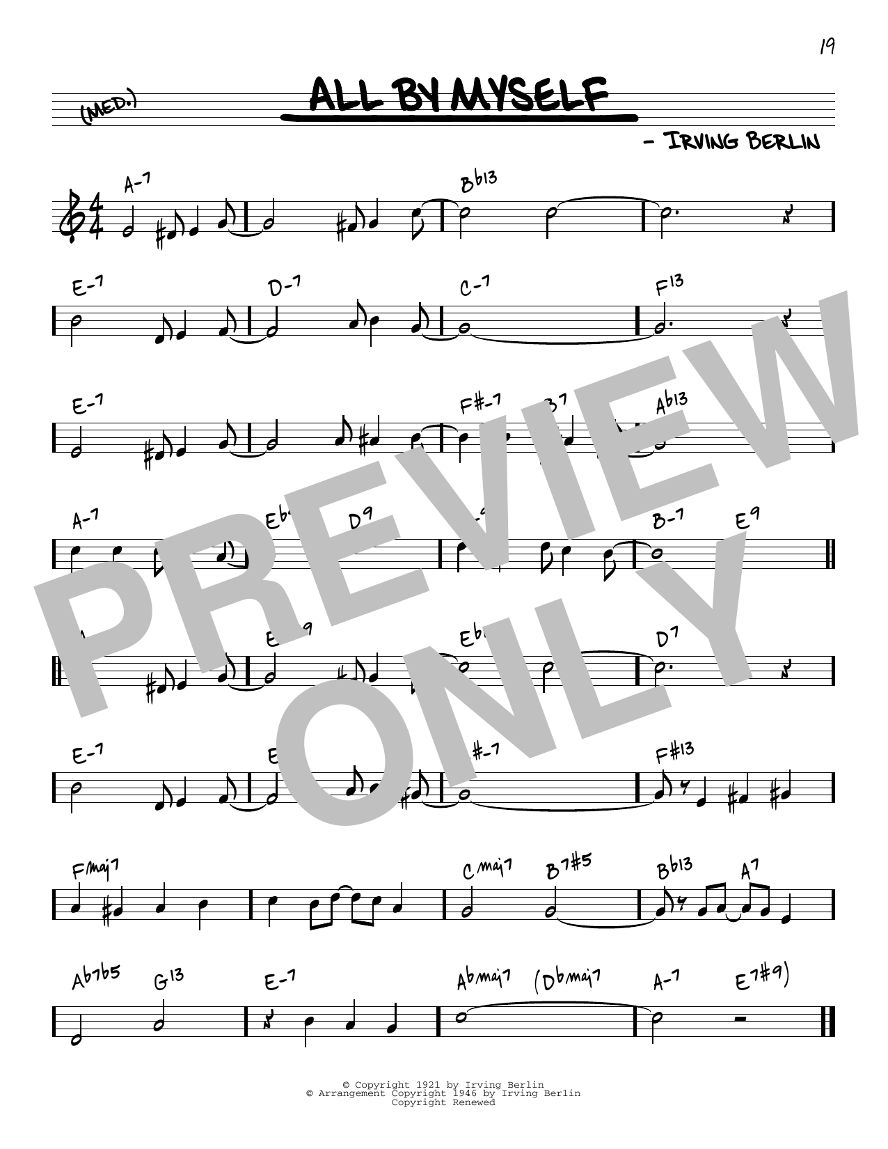 Irving Berlin All By Myself [Reharmonized version] (arr. Jack Grassel) sheet music notes printable PDF score