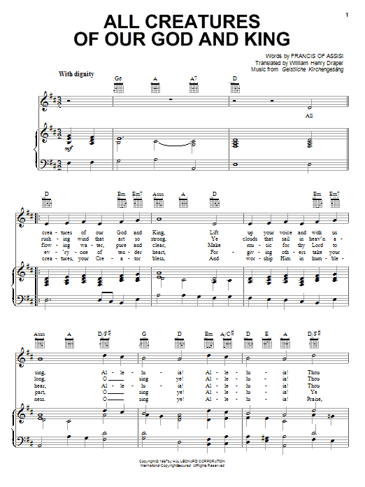 Francis of Assisi All Creatures Of Our God And King sheet music notes printable PDF score