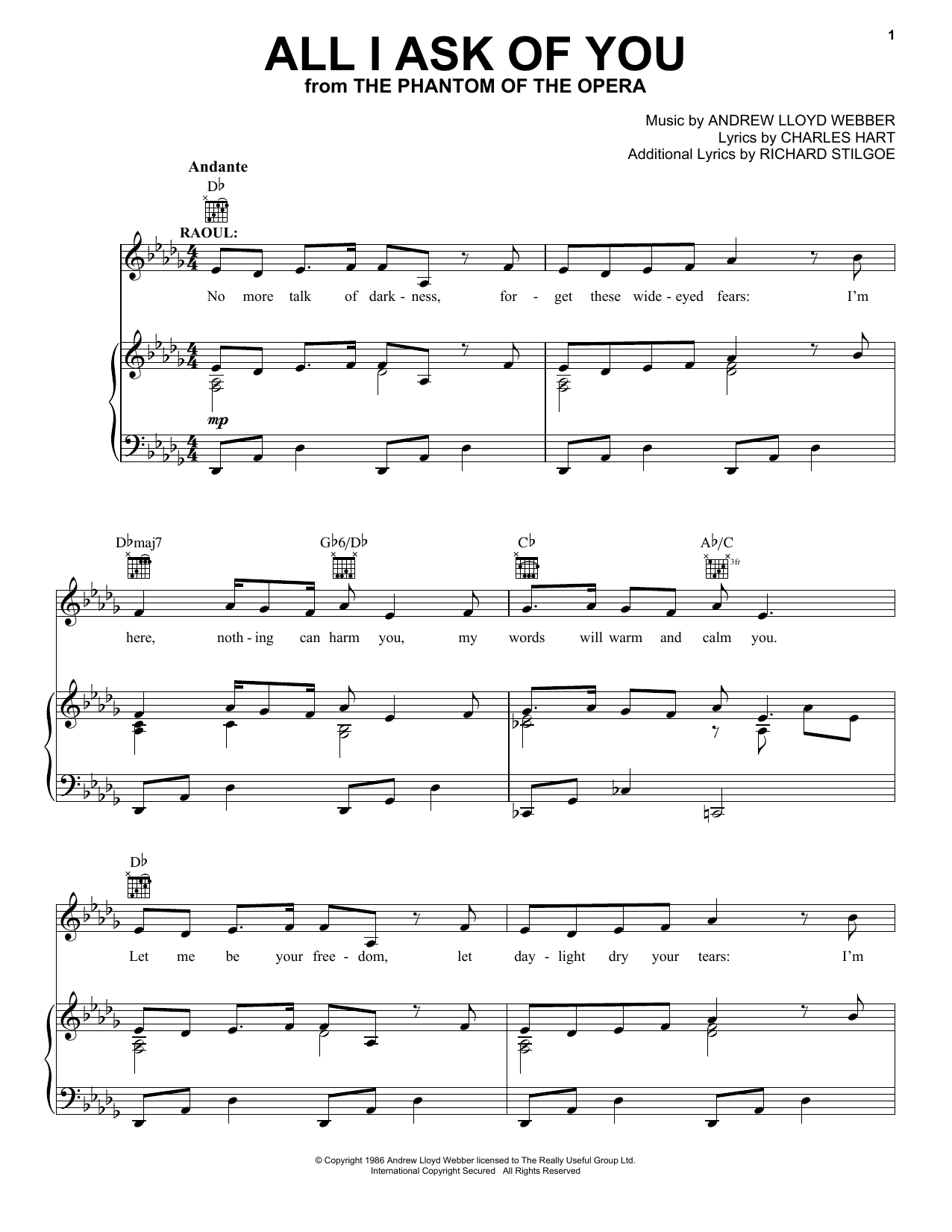 Andrew Lloyd Webber All I Ask Of You (from The Phantom Of The Opera) sheet music notes printable PDF score