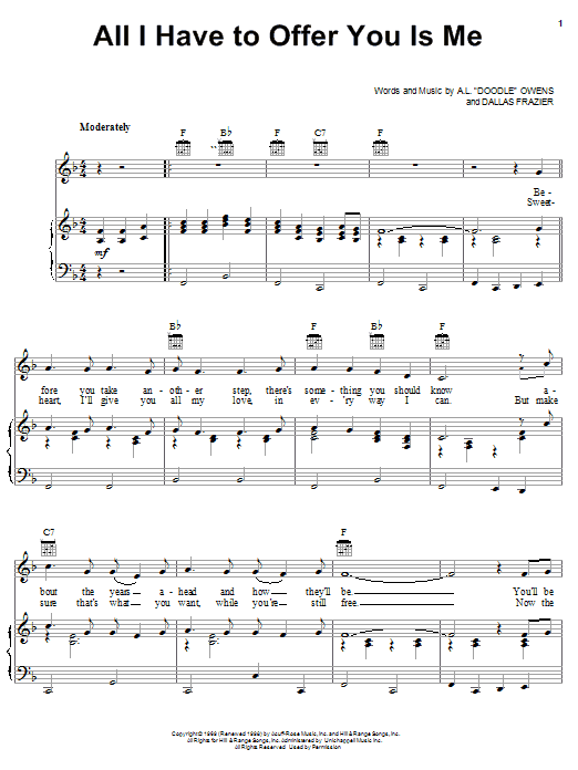 Charley Pride All I Have To Offer You Is Me sheet music notes printable PDF score