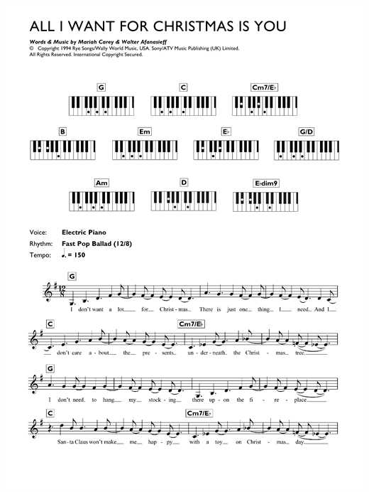 Mariah Carey All I Want For Christmas Is You sheet music notes printable PDF score