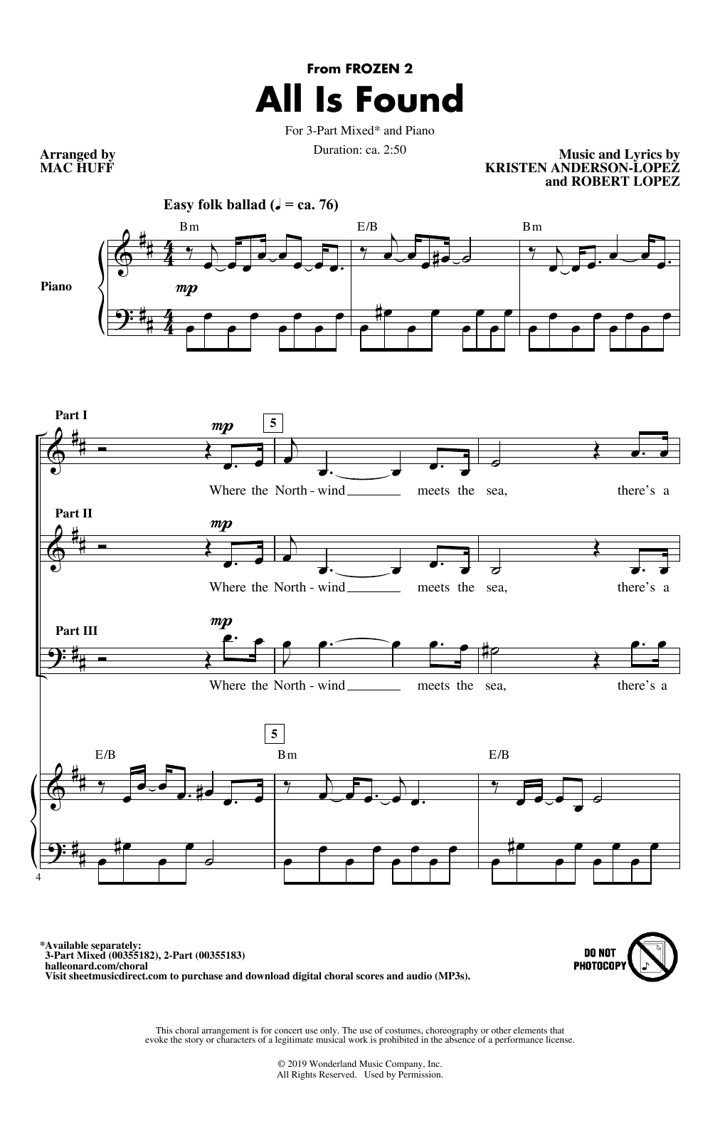 Evan Rachel Wood All Is Found (from Disney's Frozen 2) (arr. Mac Huff) sheet music notes printable PDF score