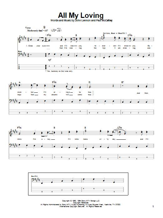 The Beatles All My Loving sheet music notes printable PDF score