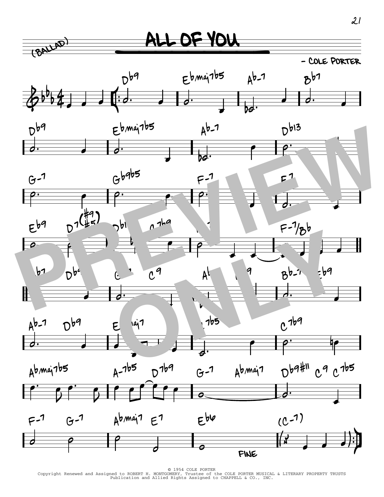 Cole Porter All Of You [Reharmonized version] (arr. Jack Grassel) sheet music notes printable PDF score