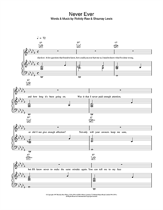 All Saints Never Ever sheet music notes printable PDF score