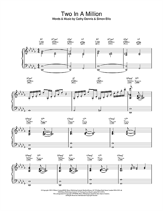 All Saints Two In A Million sheet music notes printable PDF score