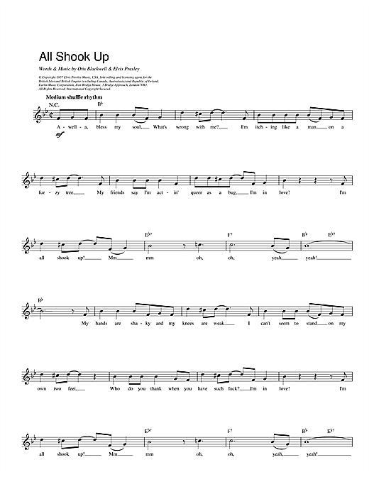 Elvis Presley All Shook Up sheet music notes printable PDF score