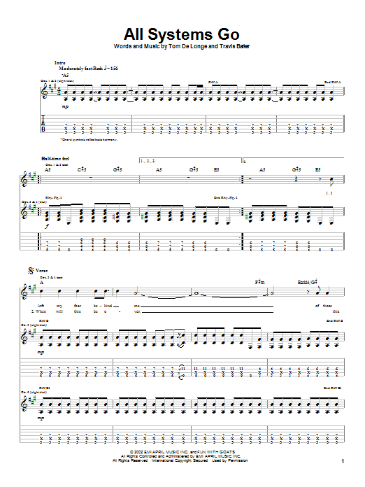 Box Car Racer All Systems Go sheet music notes printable PDF score