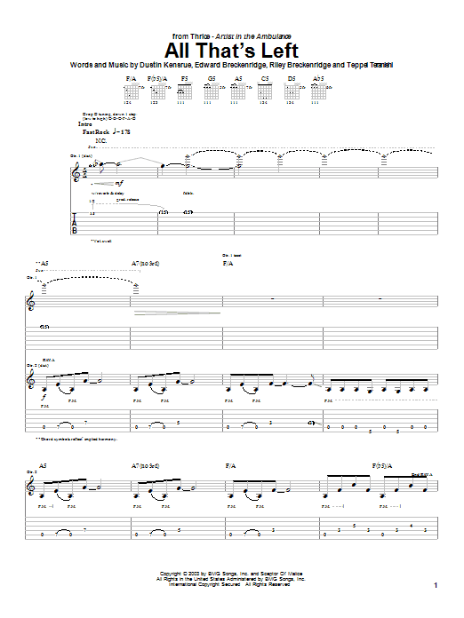 Thrice All That's Left sheet music notes printable PDF score