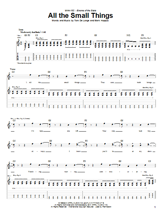 Blink-182 All The Small Things sheet music notes printable PDF score