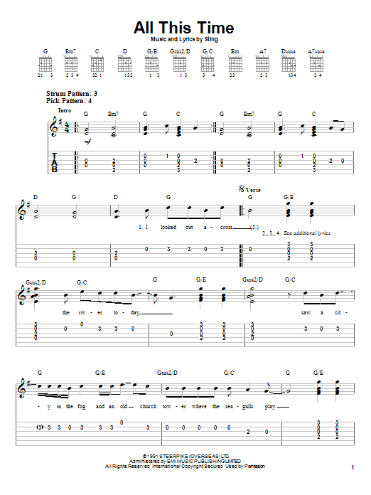 Sting All This Time sheet music notes printable PDF score