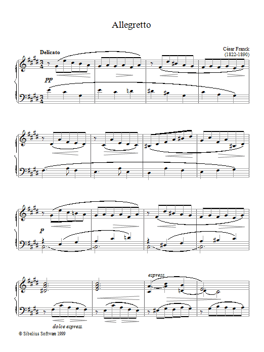 César Franck Allegretto sheet music notes printable PDF score