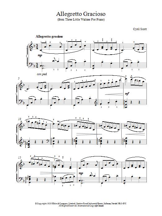 Cyril Scott Allegretto Gracioso sheet music notes printable PDF score