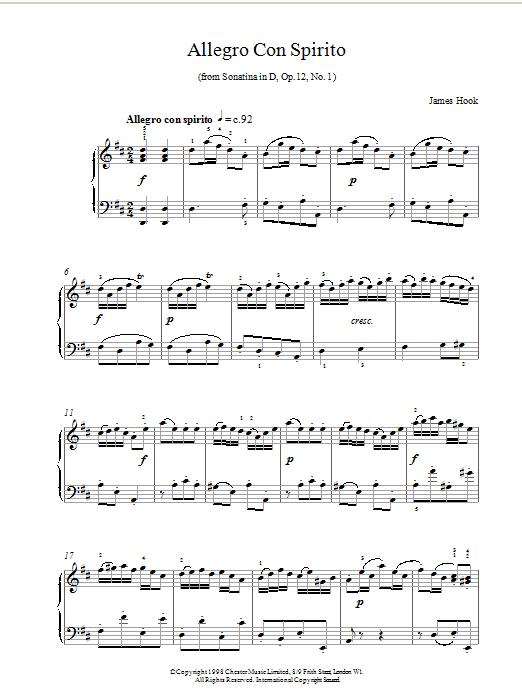 James Hook Allegro Con Spirito Op.12 No.1 sheet music notes printable PDF score