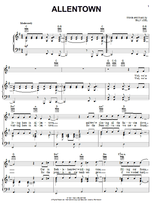 Billy Joel Allentown sheet music notes printable PDF score