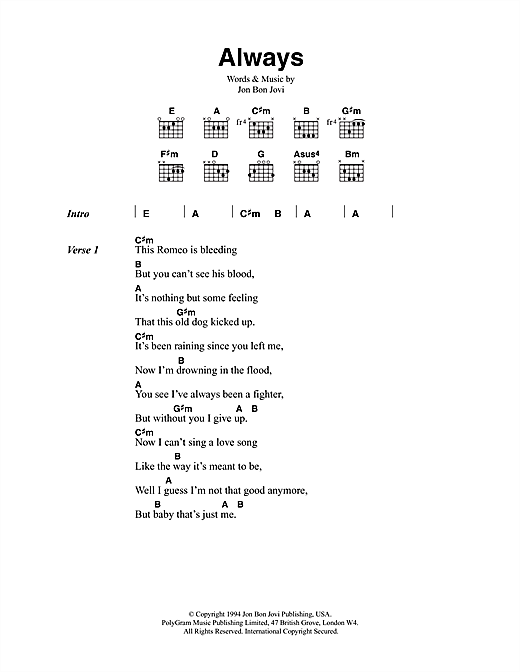 Bon Jovi Always sheet music notes printable PDF score