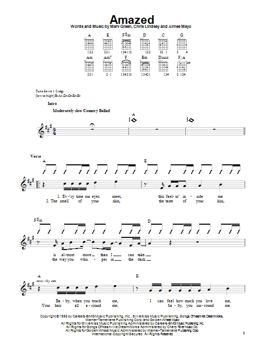 Lonestar Amazed sheet music notes printable PDF score