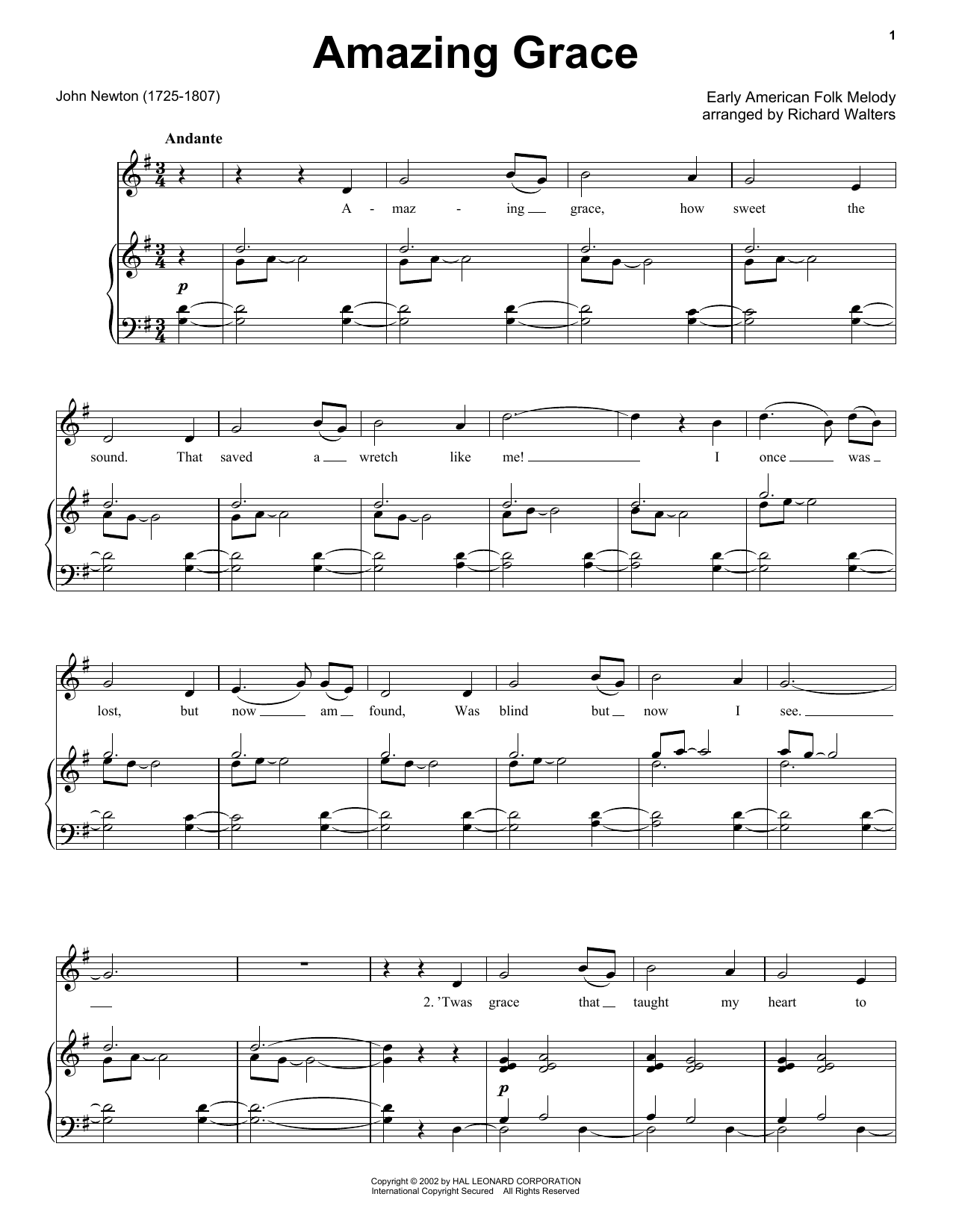 Traditional Amazing Grace sheet music notes printable PDF score