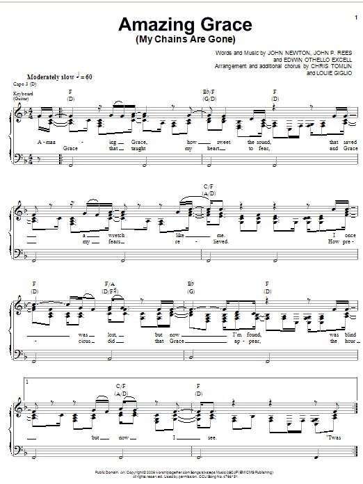 Chris Tomlin Amazing Grace (My Chains Are Gone) sheet music notes printable PDF score