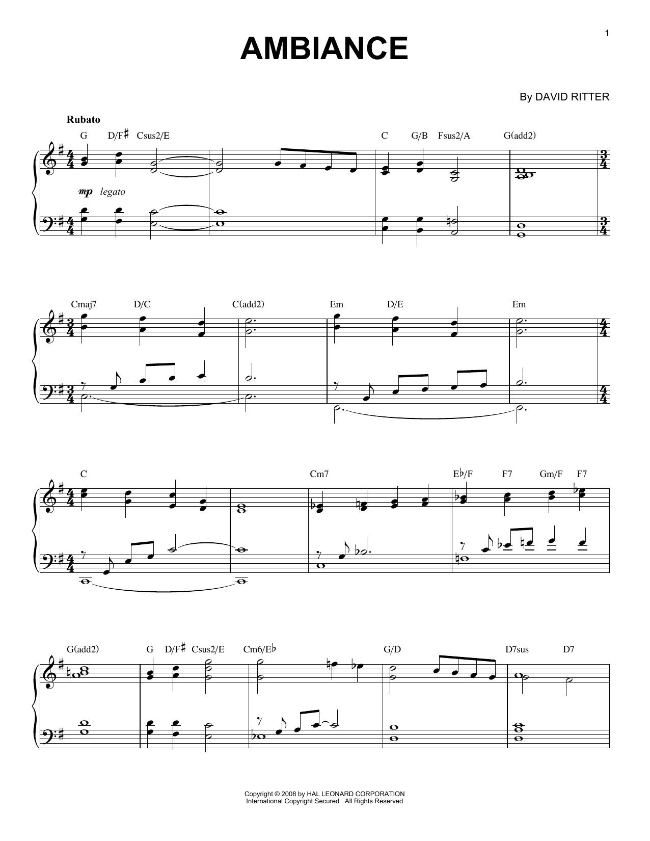David Ritter Ambiance sheet music notes printable PDF score