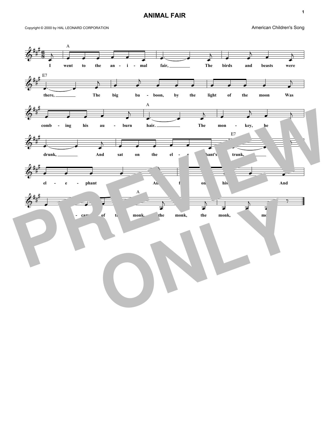 American Folksong Animal Fair sheet music notes and chords. Download Printable PDF.