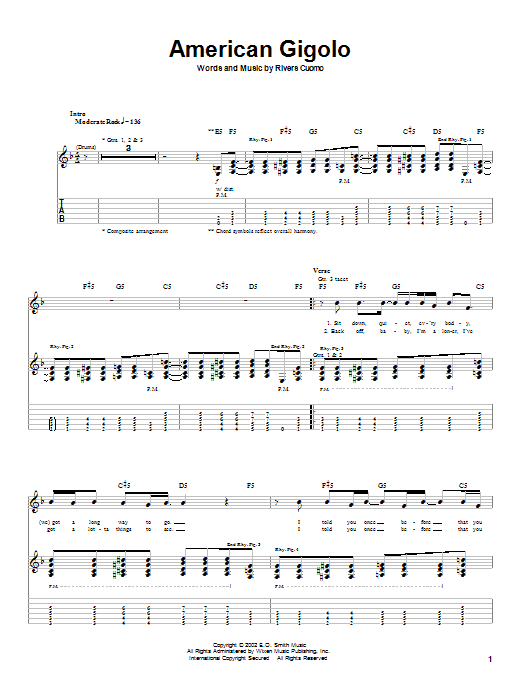 Weezer American Gigolo sheet music notes printable PDF score
