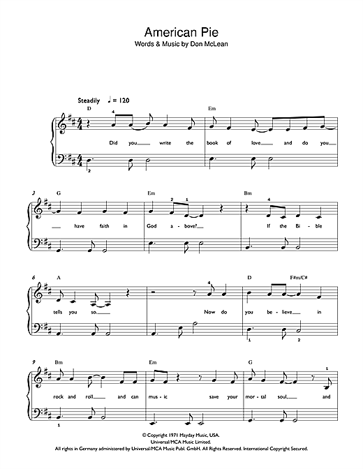 Madonna American Pie sheet music notes printable PDF score