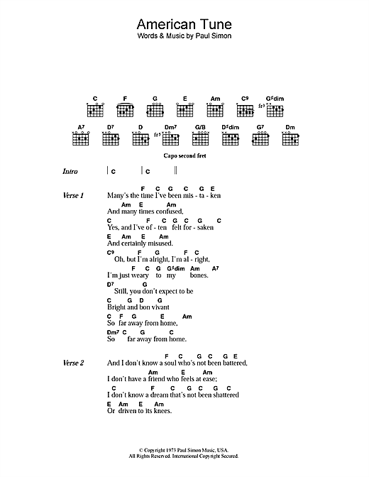 Paul Simon American Tune sheet music notes printable PDF score