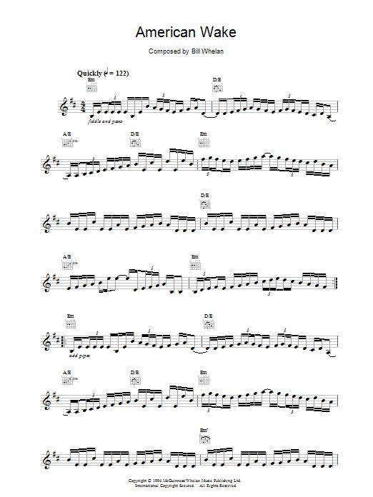 Bill Whelan American Wake (from Riverdance) sheet music notes printable PDF score