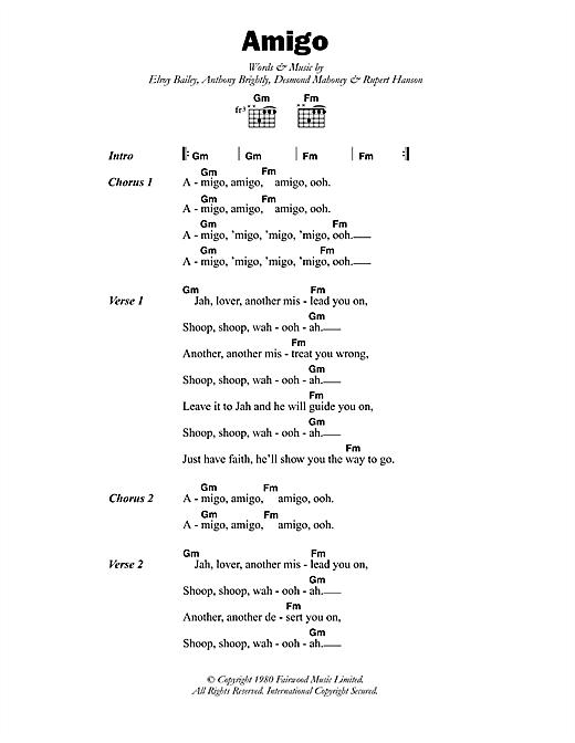 Black Slate Amigo sheet music notes printable PDF score