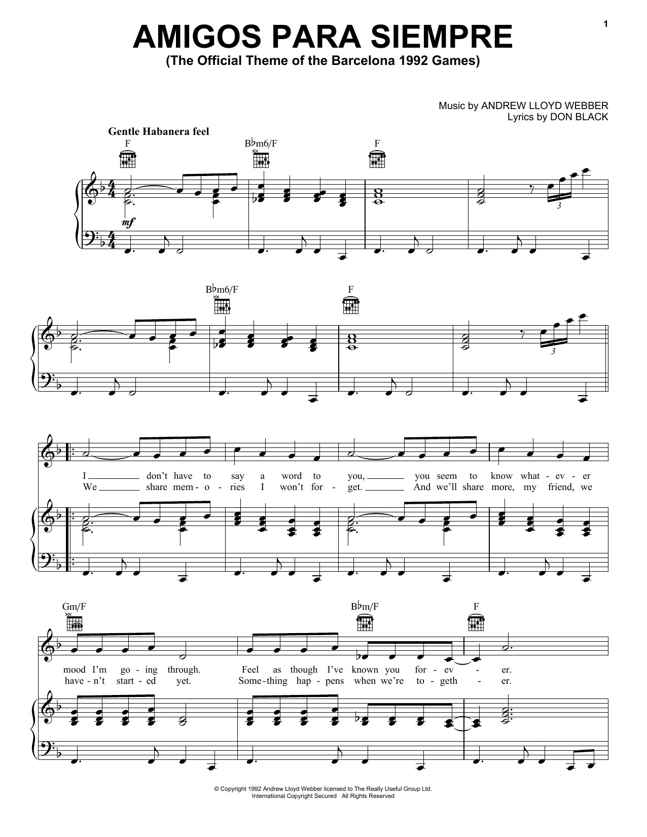 Andrew Lloyd Webber Amigos Para Siempre (Friends For Life) sheet music notes printable PDF score