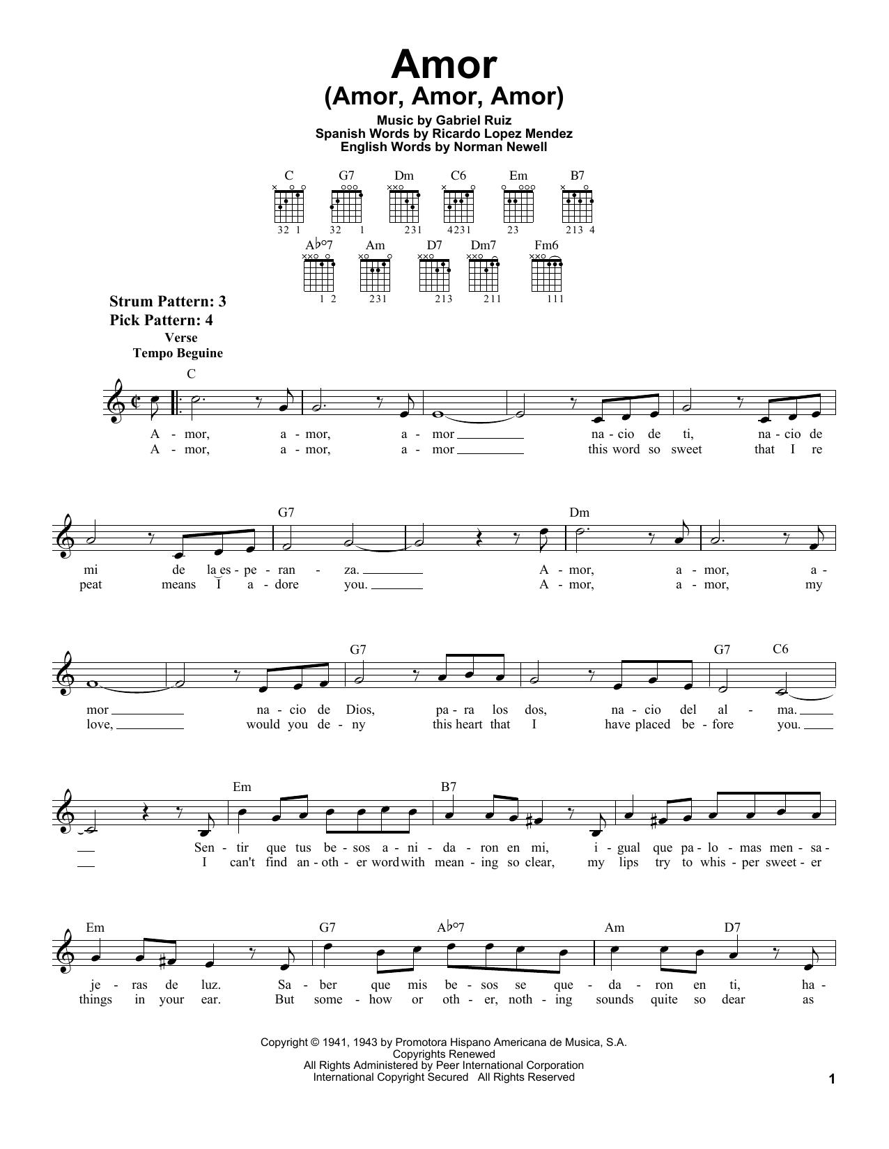 Gabriel Ruiz Amor (Amor, Amor, Amor) sheet music notes printable PDF score