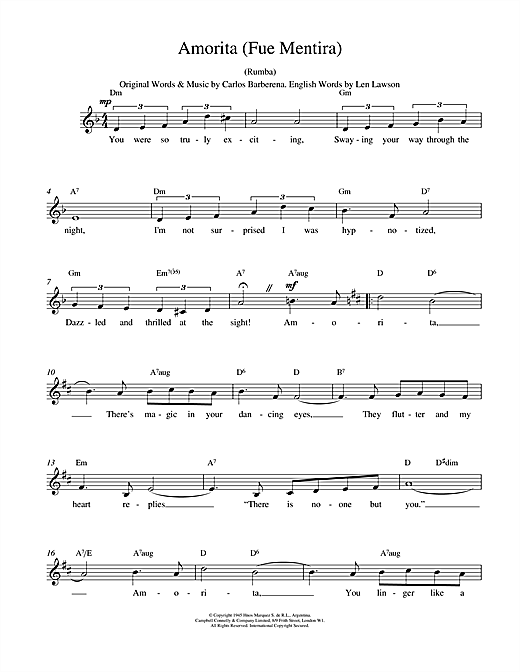 Carlos Barberena Amorita (Fue Mentira) sheet music notes printable PDF score