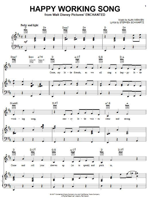 Amy Adams Happy Working Song sheet music notes and chords. Download Printable PDF.