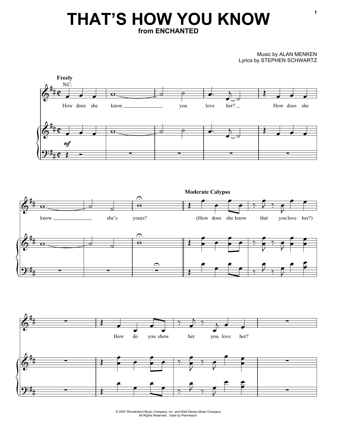 Amy Adams That's How You Know (from Enchanted) sheet music notes and chords. Download Printable PDF.